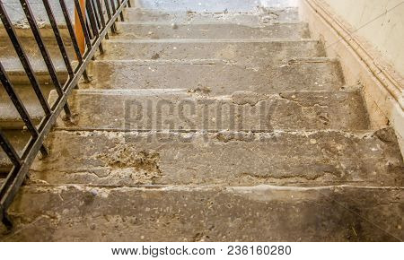 The Staircase Of The Old House. Steps Of The Old Staircase