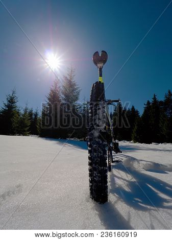 Mountain Bike In Snow.  Cycling On Large Tire Wheels In Fresh Snow. Cyclist Goes On Bike On The Froz