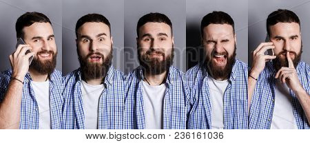 Set Of Young Casual Man Expressing Different Emotions And Gesturing At Gray Studio Background