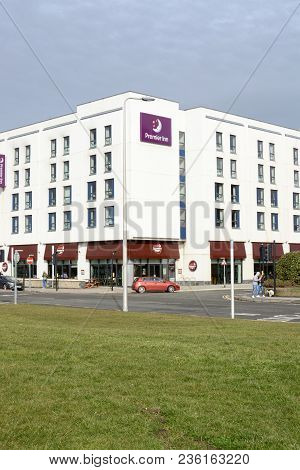 Weston Super Mare, Uk  - March 10, 2018: The Seafront Premier Inn Hotel And Brewers Fayre Pub Chain,