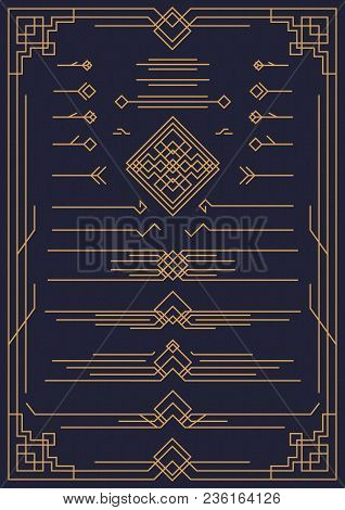 deco and arabic design elements gold color isolated on background for pattern, menu, textile, poster, promotion, decoration, wedding invitation, greeting card. 10 eps