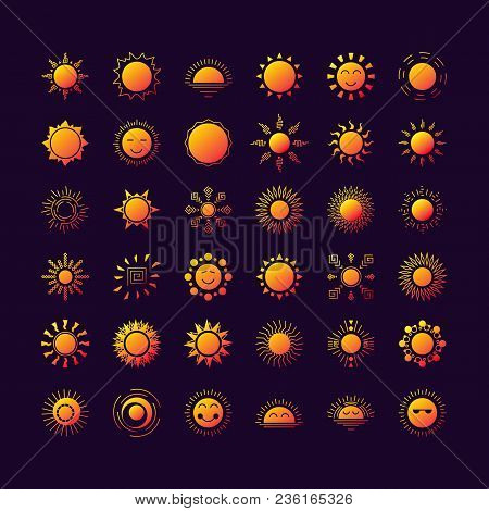 Vector Sun Logo Set Collorful Gradient Style Isolated On Background For Natural Energy Symbol, Trave