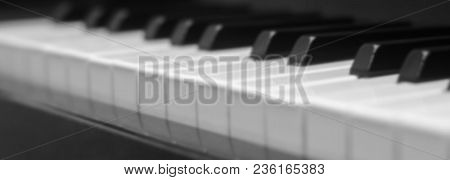 Piano Keys Close-up, Side View Of A Musical Instrument
