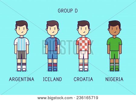 Group D. Soccer Players With Jersey Kit. Argentina, Iceland, Croatia, Nigeria.
