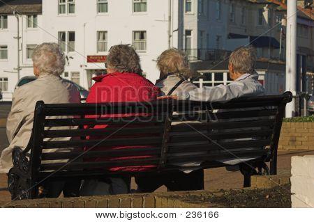Elderly Ladies On A Bench
