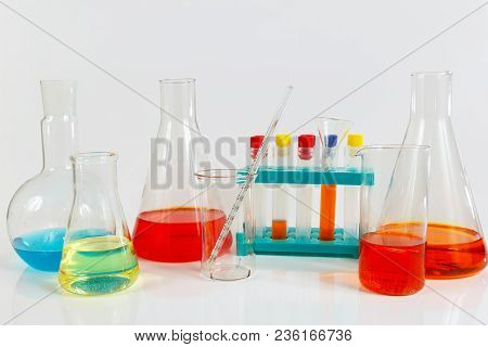 Equipment For Medical Research On A White Background