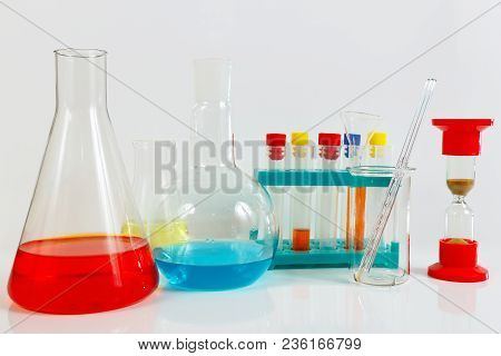 Equipment For Medical Experiments On A White Background