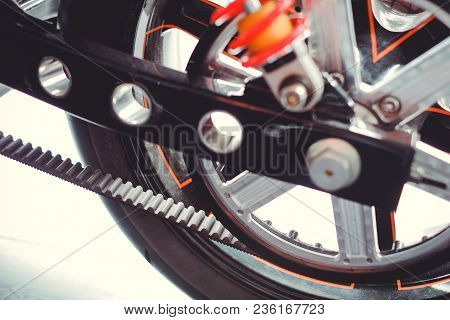 Rear Motorcycle Star With Belt Drive, Rear Suspension And Transmissions Close-up
