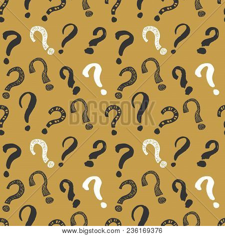 Questions Marks Seamless Pattern. Hand Drawn Sketched Doodle Signs, Grunge Textured Retro Background