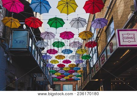 Dublin, Ireland - April 14th, 2018: Colorful Umbrellas Art Installation In Frot Of The Zozimus Bar I