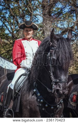 April, 19, 2014, Haarzuilens, English Cavalry Horseman During The Elf Fantasy Fair (elfia) Is An Out