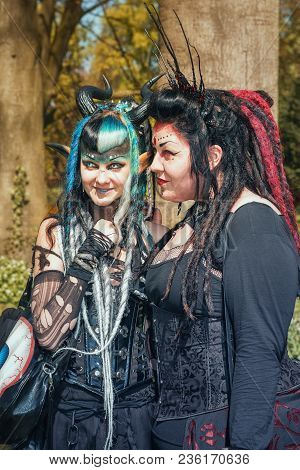 April  19, 2014, Haarzuilens, The Netherlands: Two Devilish Looking Ladies On Pose During The Elf Fa