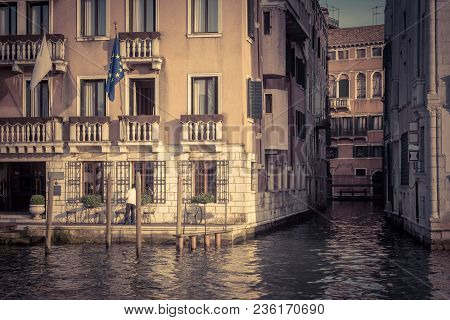 Traditional View Of Streets In Venice, Italy. Old Buildings On The Grand Canal. It Is The Main Stree