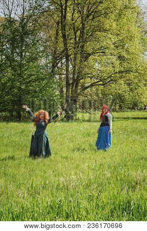 April  19, 2014, Haarzuilens, The Netherlands: Two Redheads In The Forest During The Elf Fantasy Fai
