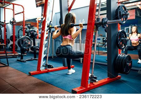 Athletic young sporty woman doing squat exercise in the smith machine. Smith rack machine in modern fitness center. poster