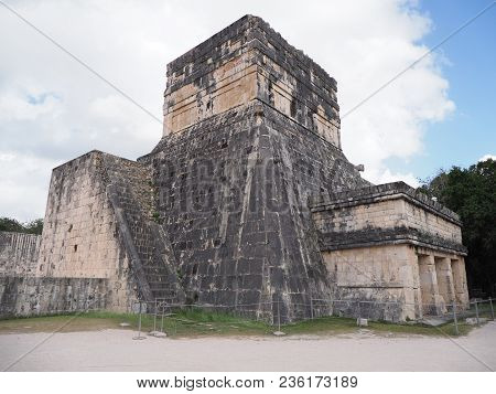 Ancient Ruins Of Great Ball Court Buildings At Chichen Itza In Mexico, Largest And Most Impressive O