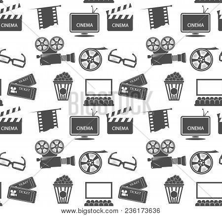 Seamless Pattern With Cd Elements - Vector Cinematic Theme.