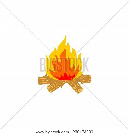 Burning Wood Timbers With Flames Flat Icon. Campfire Or Bonfire Blaze, Fireplace Cartoon Symbol. Cam