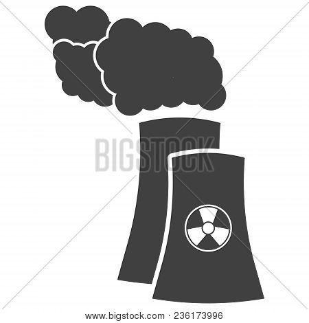 Nuclear Power Plant Silhouette Icon In Flat Style. Non-renewable Energy Source Symbol Isolated On Wh