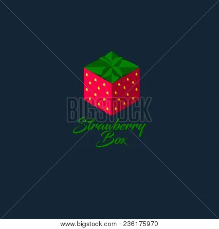 Strawberry Box Logo. Hexagon Strawberry Icon. Sweets Emblem. Gift Store. Box Like Strawberry With Le