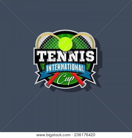 Tennis Emblem. Tennis Logo. Tennis Racket And Ball In A Circle With Ribbons.