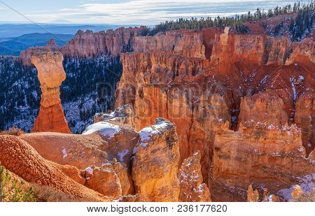 The Scenic Rugged Winter Landscape Of Bryce Canyon National Park Utah