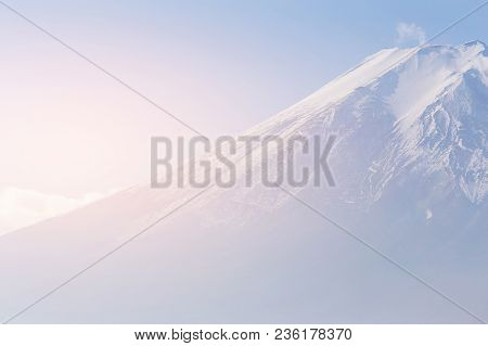 Top View Close Up Fuji Mountain, Japan Natural Landscape Background