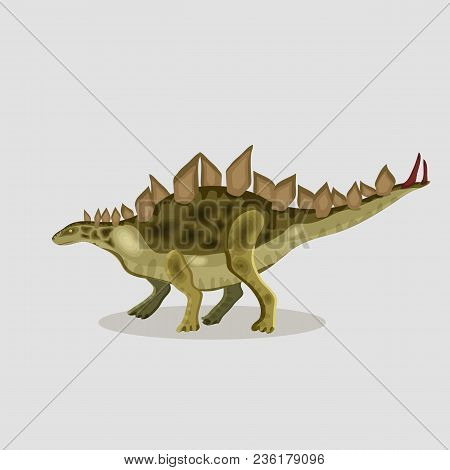 Vector Cartoon  Illustration Of A Dinosaur.  Stegosaurus.