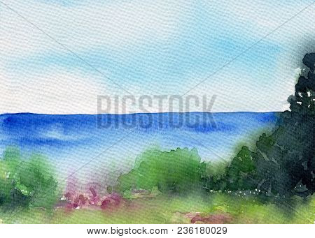 Summer Landscape With Lake Or River, Forest And Meadow. Beautiful Scenery. Watercolor Illustration.