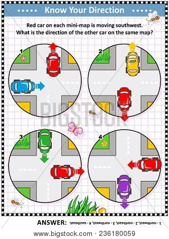 Map Skills Learning And Training Activity Page Or Worksheet: Red Car On Each Mini-map Is Moving Sout