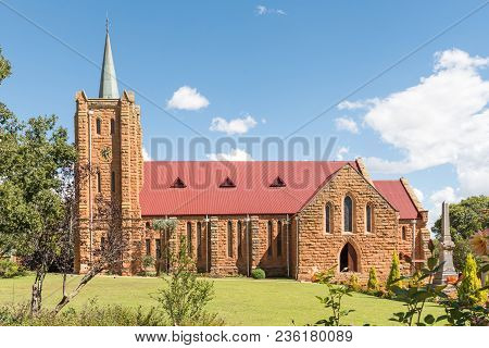Fouriesburg, South Africa - March 12, 2018: The Historic Sandstone Dutch Reformed Church In Fouriesb