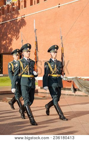 Moscow, Russia - July 4, 2005: Soldiers Of Honourable I Punished March At Kremlin Walls