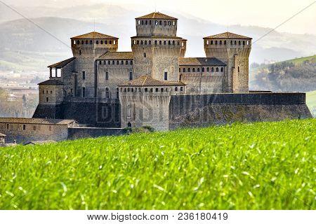 Parma - Italy - Castle Of Torrechiara Meadow Vale Panorama - Emilia Romagna Region .