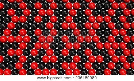 Black And Red Shiny Spheres Forming A Background Pattern. Computer Generated 3d Illustration.