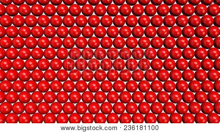 Red Shiny Spheres Forming A Background Pattern. Computer Generated 3d Illustration.