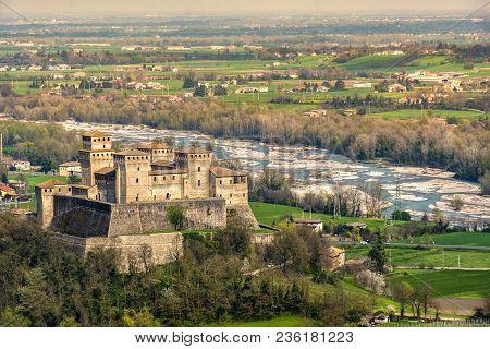 Parma - Italy - Torrechiara Castle  Aerial View  Of The Castello Di Torrechiara  In Emilia Romagna P
