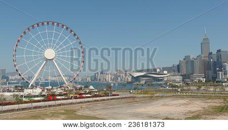Central, Hong Kong, 09 March 2018:- Hong Kong city landmark and blue sky