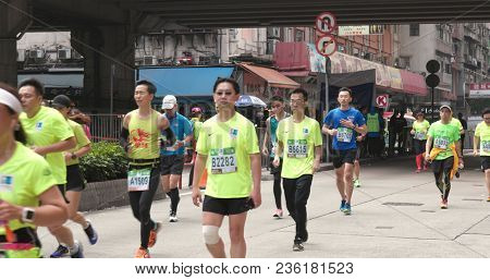 Causeway Bay, Hong Kong, 21 January 2018:- Standard chartered marathon in Hong Kong
