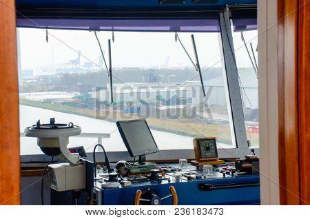 North Sea Canal Amsterdam Netherlands - 1 April 2018:  Navigation Cockpit On Cruise Ship Cruising Do