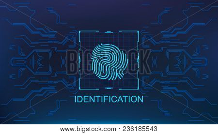 Finger Scan In Futuristic Style Biometric Id With Futuristic, Fingerprint Scanning