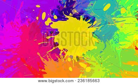 Wide Format Abstract Colorful Grunge Background. Place For Text. Paint Splashes. Background For Pres