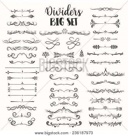 Decorative Flourishes. Hand Drawn Dividers. Vector Swirls And Decorations Ornate Elements Design.
