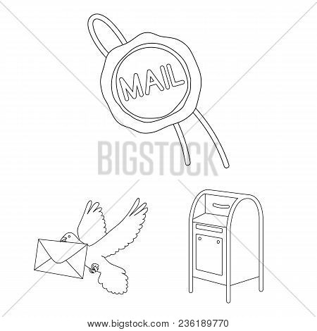 Mail And Postman Outline Icons In Set Collection For Design. Mail And Equipment Vector Symbol Stock