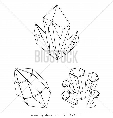 Precious Minerals Outline Icons In Set Collection For Design. Jeweler And Equipment Vector Symbol St