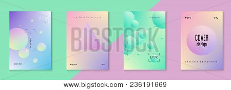 Fluid Poster Set With Round Shape. Gradient Circles On Holographic Background. Modern Hipster Templa