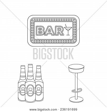 Pub, Interior And Equipment Outline Icons In Set Collection For Design. Alcohol And Food Vector Symb