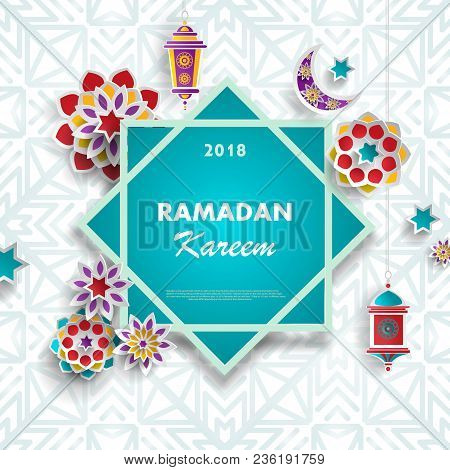 Ramadan Kareem Concept Banner With Islamic Geometric Patterns And Eight Pointed Star Frame. Paper Cu