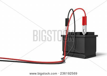3d Rendering Of An Isolated Car Battery With Red And Black Battery Clamps Connected To Long Cables.
