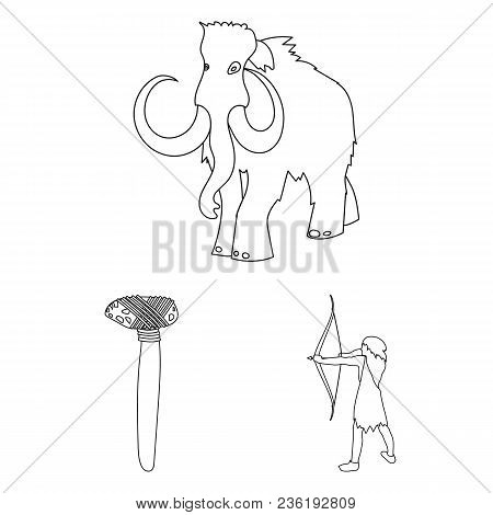 Life In The Stone Age Outline Icons In Set Collection For Design. Ancient People Vector Symbol Stock