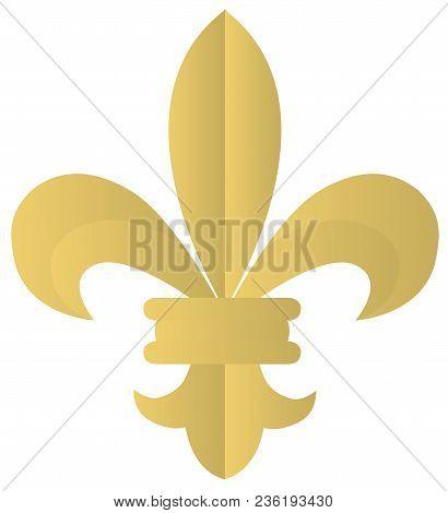 Vector Illustration Of A Golden Fleur De Lis Isolated On White Background